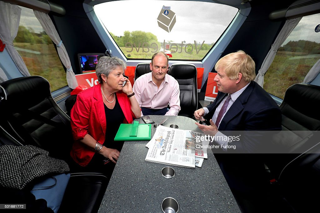Boris Johnson MP, Labour MP Gisela Stuart and UKIP MP Douglas Carswell (C) have a meeting on board the Vote Leave, Brexit Battle Bus on May 17, 20016 in Stafford, England. Boris Johnson and the Vote Leave campaign are touring the UK in their Brexit Battle Bus. The campaign is hoping to persuade voters to back leaving the European Union in the Referendum on the 23rd June 2016.