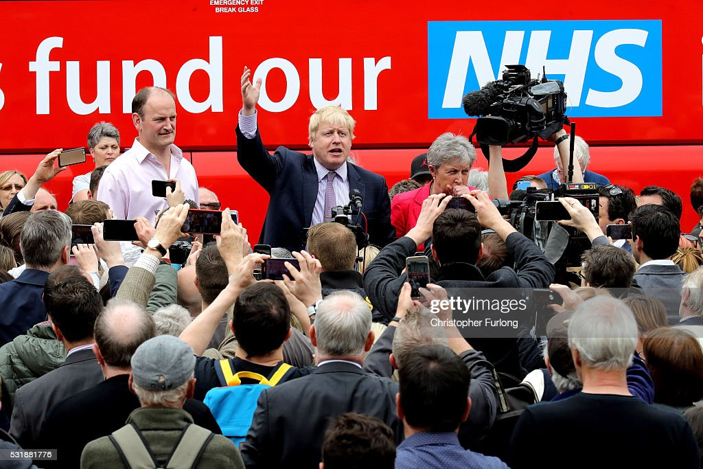 Boris Johnson MP, Labour MP Gisela Stuart and UKIP MP Douglas Carswell address the people of Stafford in Market Square during the Vote Leave, Brexit Battle Bus tour on May 17, 20016 in Stafford, England. Boris Johnson and the Vote Leave campaign are touring the UK in their Brexit Battle Bus. The campaign is hoping to persuade voters to back leaving the European Union in the Referendum on the 23rd June 2016.