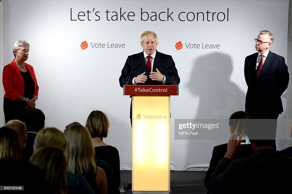 Boris Johnson MP speaks during a press conference as Gisela Stuart (L) and Michael Gove (R) look on following the results of the EU referendum at Westminster Tower on June 24, 2016 in London, England. The results from the historic EU referendum has now been declared and the United Kingdom has voted to LEAVE the European Union.
