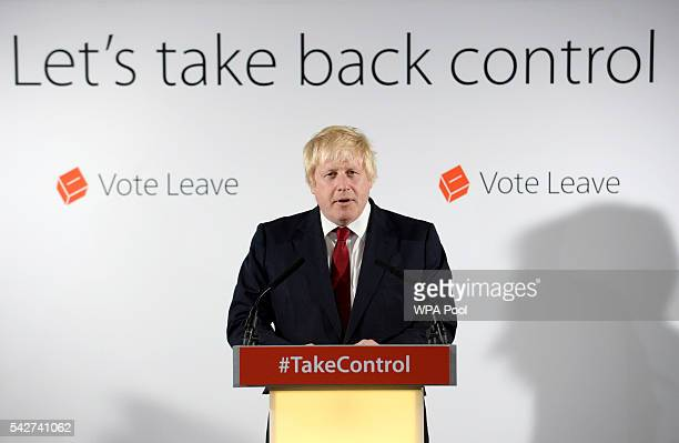 Boris Johnson MP speaks during a press conference following the results of the EU referendum at Westminster Tower on June 24 2016 in London England...