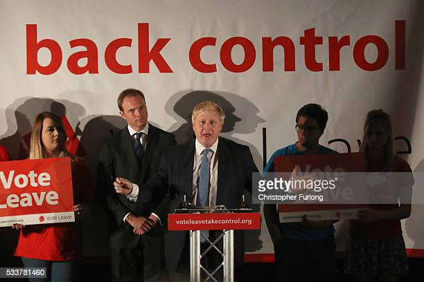 Boris Johnson MP talks to supporters during a Vote Leave rally at York Racecourse on May 23 20016 in York England Boris Johnson and the Vote Leave...