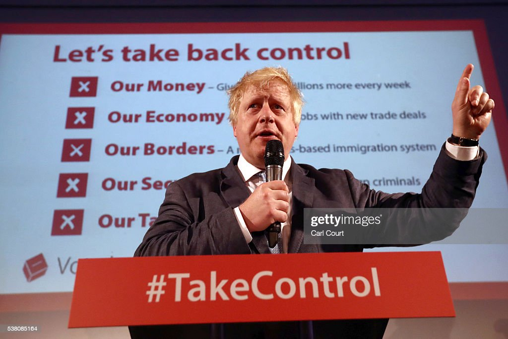 Boris Johnson Attends A Vote Leave Rally In London : News Photo