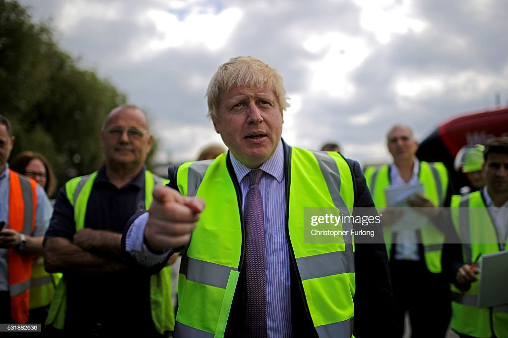 Boris Johnson MP tours the BMI Group, Kingsilver Refinery in Hixon, Staffordshire during the Vote Leave, Brexit Battle Bus tour on May 17, 20016 in Stafford, England. Boris Johnson and the Vote Leave campaign are touring the UK in their Brexit Battle Bus. The campaign is hoping to persuade voters to back leaving the European Union in the Referendum on the 23rd June 2016.
