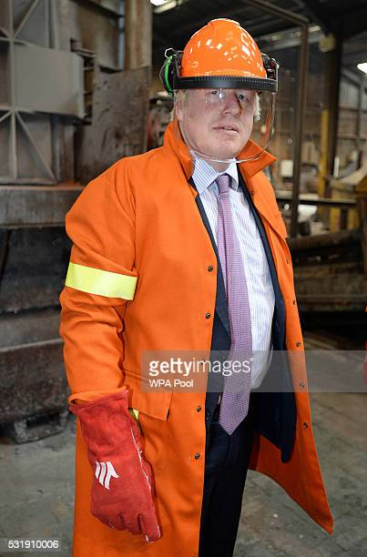 Boris Johnson MP tours the JBMI Group Kingsilver Refinery in Hixon Staffordshire during the Vote Leave Brexit Battle Bus tour on May 17 20016 in...