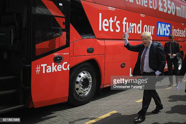Boris Johnson MParrives in Stafford to board the Vote Leave Brexit Battle Bus on May 17 20016 in Stafford England Boris Johnson and the Vote Leave...