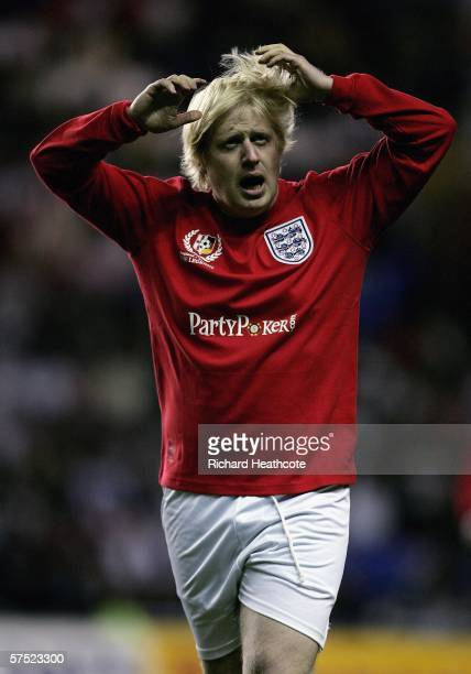 Boris Johnson of England in action during the Legends match between England and Germany at The Madejski Stadium on May 3 2006 in Reading England