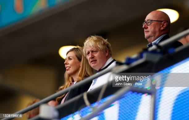 Boris Johnson, Prime Minister of England, and his wife, Carrie Johnson are seen prior to the UEFA Euro 2020 Championship Final between Italy and...