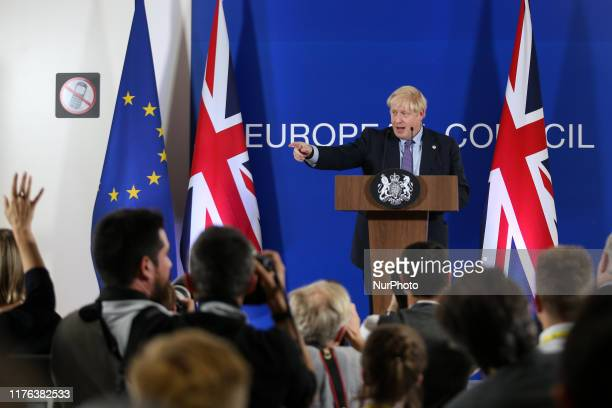 Boris Johnson Prime Minister of the United Kingdom speaks during press conference in the Justus Lipsius building during the European Council Summit...