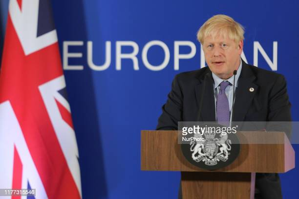 Boris Johnson Prime Minister of the United Kingdom speaks during press conference in the Justus Lipsius building during the European Council Special...