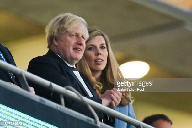 Boris Johnson, Prime Minister of United Kingdom and his wife, Carrie Johnson celebrate England's victory after the UEFA Euro 2020 Championship...