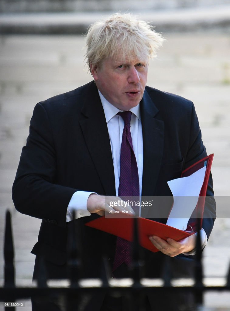 Boris Johnson, Secretary of State for Foreign Affairs arriving at the weekly Cabinet meeting in Downing Street on June 26 London, United Kingdom.