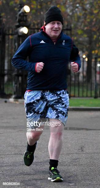 Boris Johnson Secretary of State for Foreign and Commonwealth jogging in Westminster before a Cabinet meeting on November 28 2017 in London England