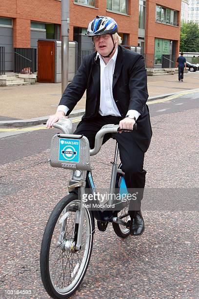 Boris Johnson Sighted outside the ITV Studios riding a new hire bike on the launch day of London's first ever cycle hire scheme on July 30 2010 in...