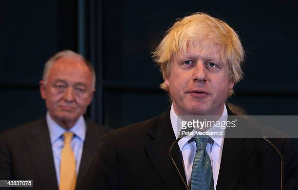 Boris Johnson speaks after the announcement of his victory in the London Mayoral elections as as Ken Livingstone look on at City Hall on May 4 2012...