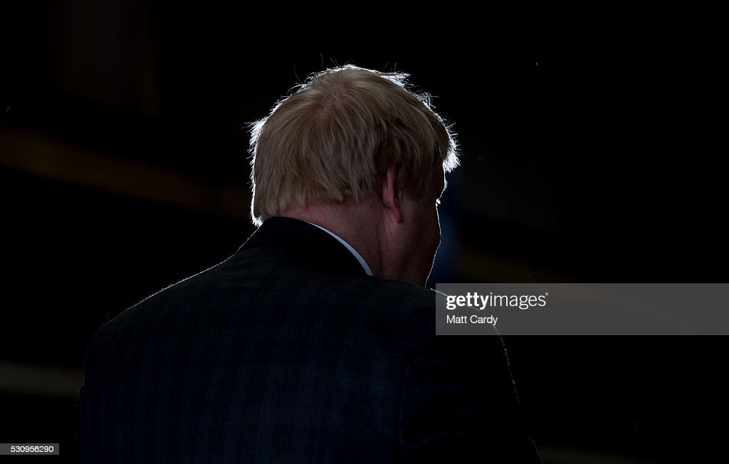 Boris Johnson speaks as he visits Reidsteel, a Christchurch company backing the Leave Vote on the 23rd June 2016. on May 12, 2016 in Christchurch, Dorset. The Vote Leave battle bus has been touring the South West of England hoping to persuade voters to back a Brexit from the European Union in the Referendum