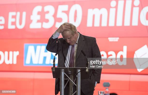 Boris Johnson speaks as he visits Reidsteel, a Christchurch company backing the Leave Vote on the 23rd June 2016. On May 12, 2016 in Christchurch,...