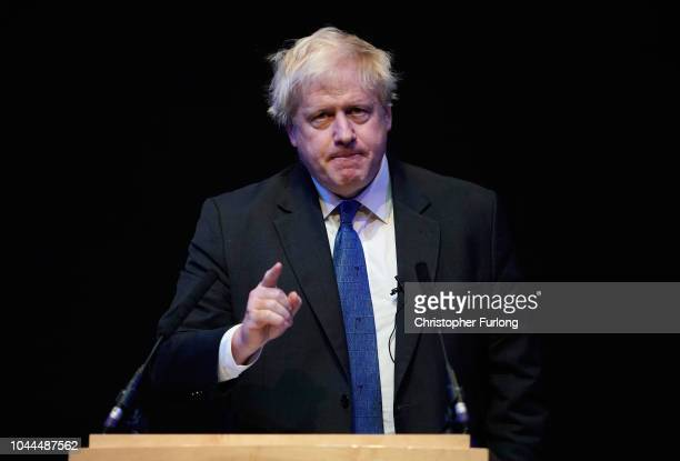Boris Johnson speaks at a Conservative home fringe meeting on day three of the Conservative Party Conference on October 2 2018 in Birmingham England...