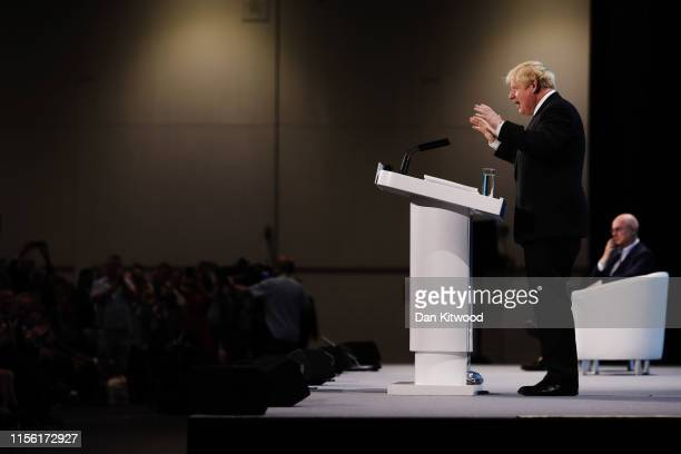 Boris Johnson talks at the final hustings of the Conservative leadership campaign at ExCeL London on July 17, 2019 in London, England. Boris Johnson...