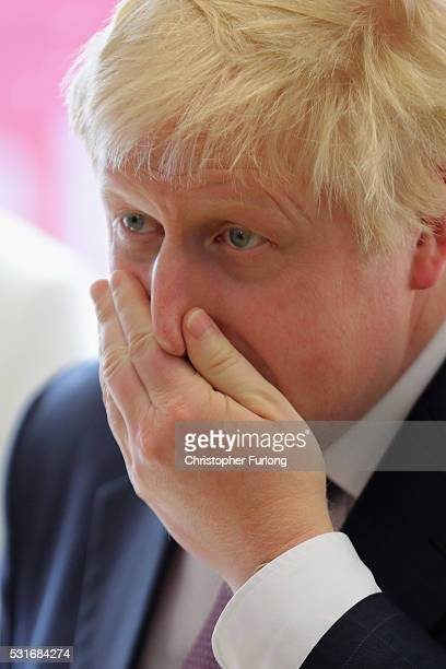 Boris Johnson the former Mayor of London addresses workers during a visit to David Nieper Ltd on May 16 2016 in Alfreton England Boris Johnson and...