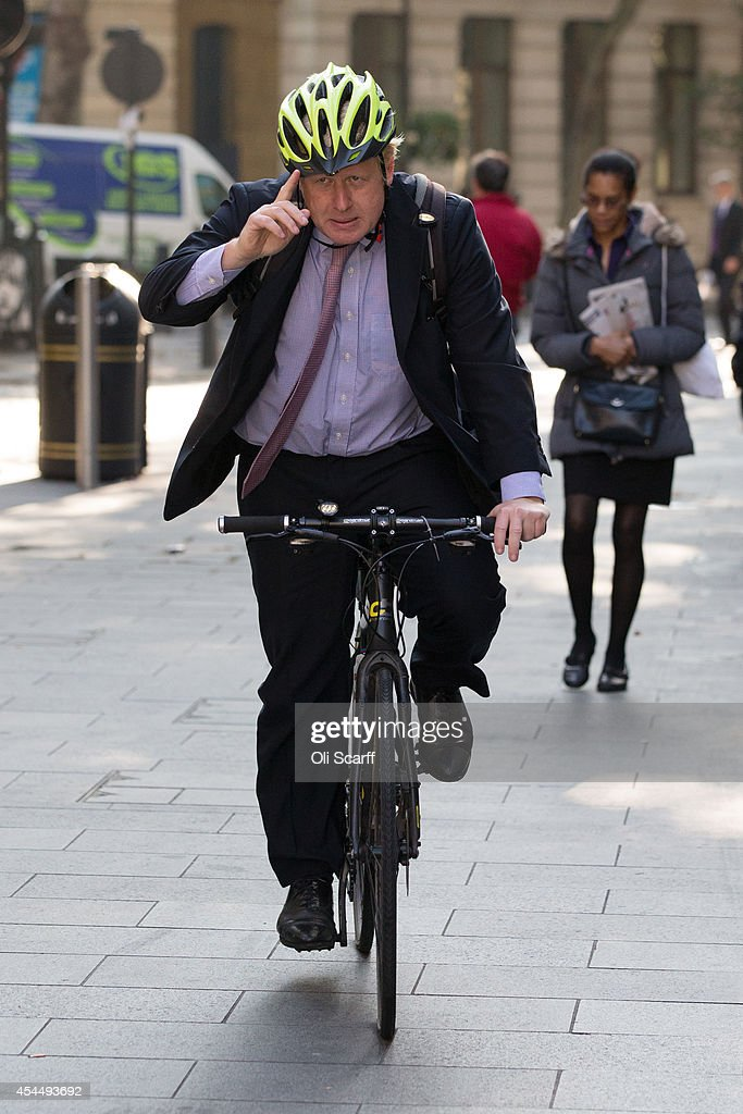 Boris Johnson, the Mayor of London, arrives at the studios of LBC talk radio station for his regular 'Ask Boris' phone-in show on September 2, 2014 in London, England. Plans for a major new airport to be constructed on an island in the Thames estuary, which have been championed by Mr Johnson and dubbed 'Boris Island', were rejected in a report by the Airports Commission.