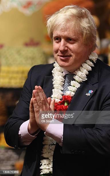 Boris Johnson, the Mayor of London, attends the Diwali celebrations at the BAPS Shri Swaminarayan Mandir on October 27, 2011 in London, England....