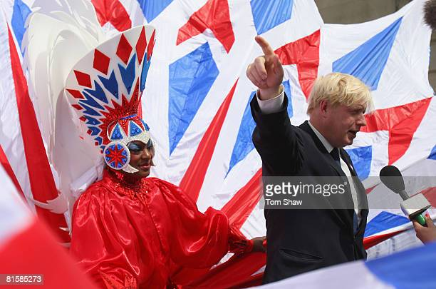 Boris Johnson the Mayor of London talks to the press during the photocall to announce the London 2012 UK Handover Celebrations at the Institute of...