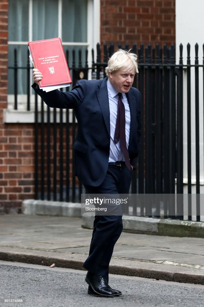 Boris Johnson, U.K. foreign secretary, arrives for a weekly meeting of cabinet ministers at number 10 Downing Street in London, U.K., on Tuesday, March 13, 2018. U.K. Prime Minister Theresa May publicly accused Russia of a chemical weapon attack on British soil and warned of retaliatory measures that will further strain relations between the West and the Kremlin. Photographer: Simon Dawson/Bloomberg via Getty Images