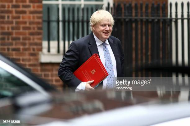 Boris Johnson UK foreign secretary arrives to attend a meeting of cabinet minsters at number 10 Downing Street in London UK on Tuesday June 5 2018 UK...
