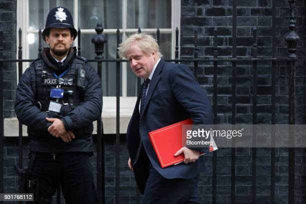 Boris Johnson UK foreign secretary leaves 10 Downing Street following a national security meeting in London UK on Wednesday March 14 2018 Prime...