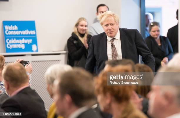 Boris Johnson, UK Prime Minister and Conservative Party leader, launches the Conservative Party Welsh Manifesto at Bangor-on-Dee Racecourse on...