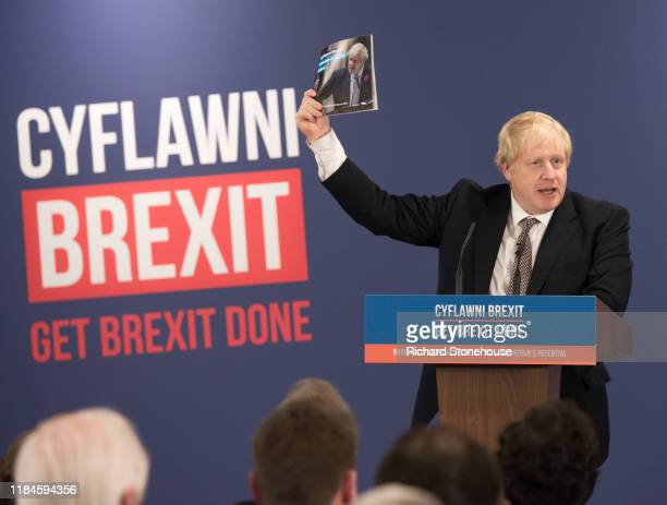 Boris Johnson UK Prime Minister and Conservative Party leader launches the Conservative Party Welsh Manifesto at BangoronDee Racecourse on November...