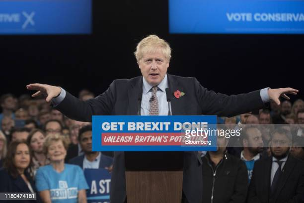 Boris Johnson UK prime minister and leader of Conservative Party speaks during the official launch of the party's general election campaign at the...