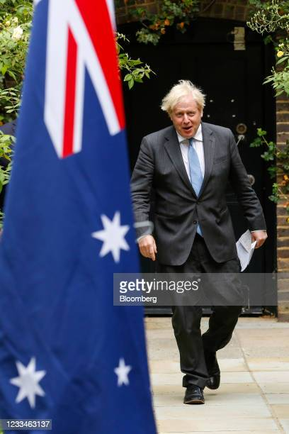 Boris Johnson, U.K. Prime minister, arrives to give a joint news conference with Scott Morrison, Australia's prime minister, during their bilateral...