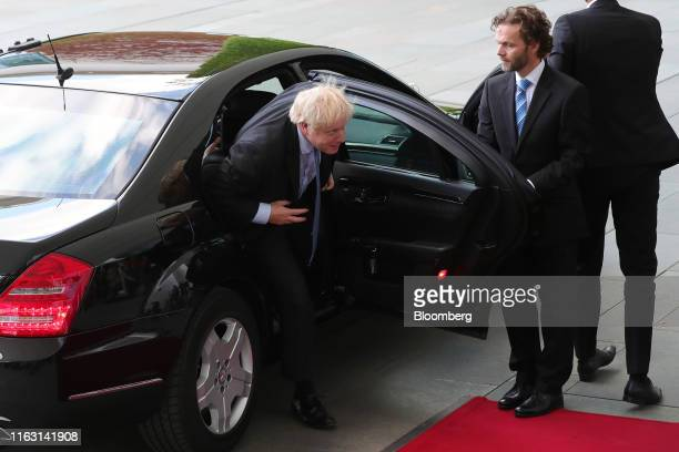 Boris Johnson UK prime minister arrives to meet Angela Merkel Germany's chancellor not pictured at the Chancellery in Berlin Germany on Wednesday Aug...