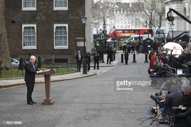 Boris Johnson UK prime minister delivers a speech outside number 10 Downing Street in London UK on Friday Dec 13 2019 Johnson won an emphatic...