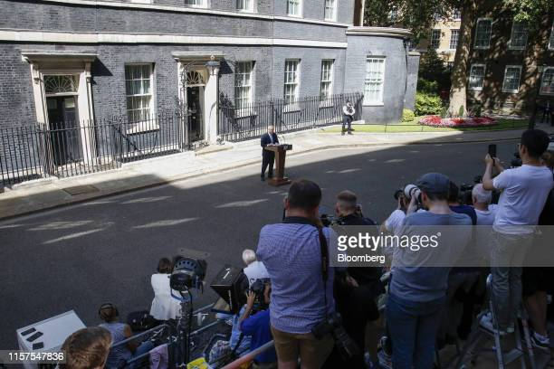 Boris Johnson UK prime minister delivers his inaugural speech as premier outside number 10 Downing Street in London UK on Wednesday July 24 2019...