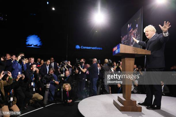 Boris Johnson, U.K. Prime minister, delivers his keynote speech on the final day of the annual Conservative Party conference in Manchester, U.K., on...