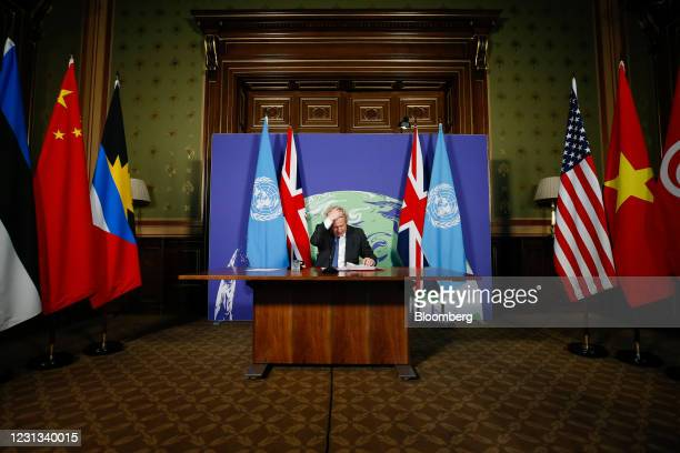Boris Johnson, U.K. Prime minister, gestures as he hosts the UN Security Council's virtual meeting on climate change risks in London, U.K., on...