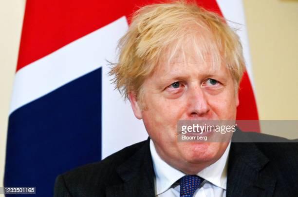 Boris Johnson, U.K. Prime minister, reacts during this bilateral meeting with Salman bin Hamad Al Khalifa, Bahrain's crown prince, inside number 10...