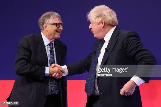Boris Johnson, U.K. Prime minister, right, and Bill Gates, co-chairman of the Bill and Melinda Gates Foundation, following a fireside chat at the...