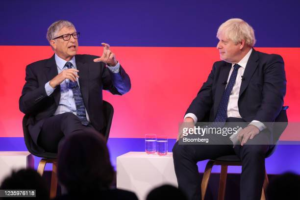 Boris Johnson, U.K. Prime minister, right, and Bill Gates, co-chairman of the Bill and Melinda Gates Foundation, during a fireside chat at the Global...