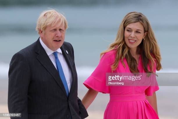 Boris Johnson, U.K. Prime minster, with his wife Carrie Johnson, on the first day of the Group of Seven leaders summit in Carbis Bay, U.K., on...