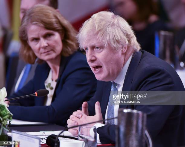 Boris Johnson United Kingdom Secretary addresses the Vancouver Foreign Ministers Meeting on Security and Stability on the Korean Peninsula in...
