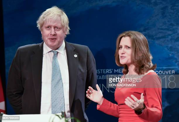 Boris Johnson United Kingdom Secretary looks on as Canadian Foreign Minister Chrystia Freeland speaks at the Vancouver Foreign Ministers Meeting on...