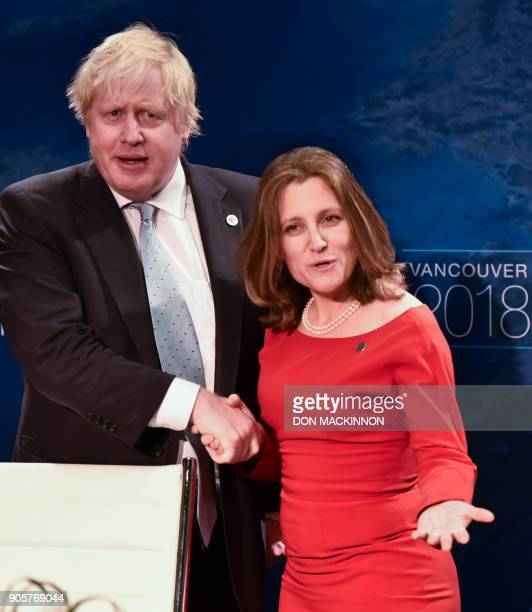 Boris Johnson United Kingdom Secretary shakes hands with Canadian Foreign Minister Chrystia Freeland at the Vancouver Foreign Ministers Meeting on...