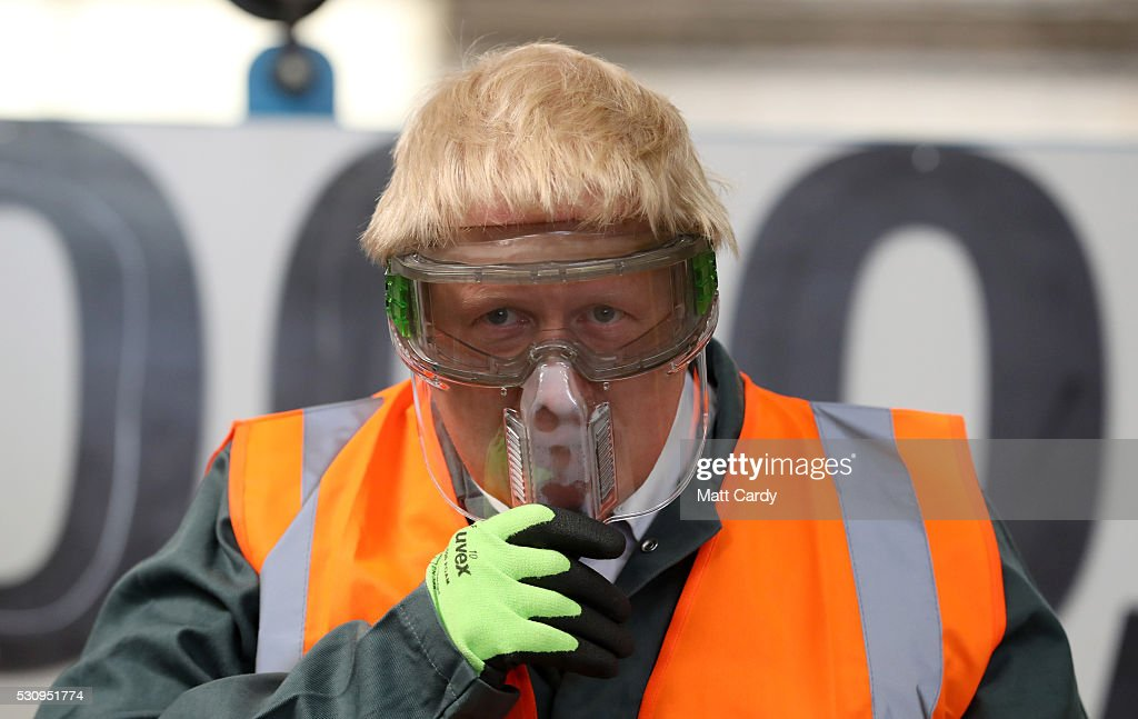 Boris Johnson visits Reidsteel, a Christchurch company backing the Leave Vote on the 23rd June 2016. on May 12, 2016 in Christchurch, Dorset. The Vote Leave battle bus has been touring the South West of England hoping to persuade voters to back a Brexit from the European Union in the Referendum.