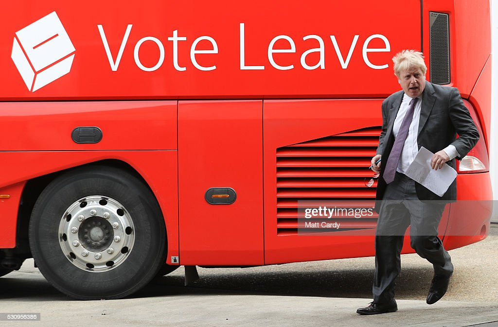 Boris Johnson visits Reidsteel, a Christchurch company backing the Leave Vote on the 23rd June 2016. on May 12, 2016 in Christchurch, Dorset. The Vote Leave battle bus has been touring the South West of England hoping to persuade voters to back a Brexit from the European Union in the Referendum