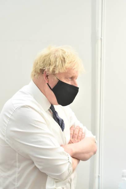 GBR: Boris Johnson Visits A Covid-19 Vaccination Centre