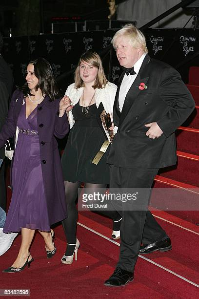 Boris Johnson, wife and daughter Lara attends the Royal Premiere of Quantum of Solace at the Odeon Leicester Square on October 29, 2008 in London,...