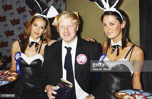 MP Boris Johnson with UK TV Bunny Girls attend the 25th anniversary and book launch party for cult adult comic Viz Magazine at the Cafe de Paris on...